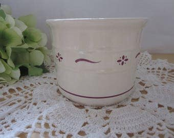 Vintage Longaberger Pottery Salt Crock Ivory and Red Woven Traditions Stoneware - 1 Pint Stoneware Salt Crock - Made In USA