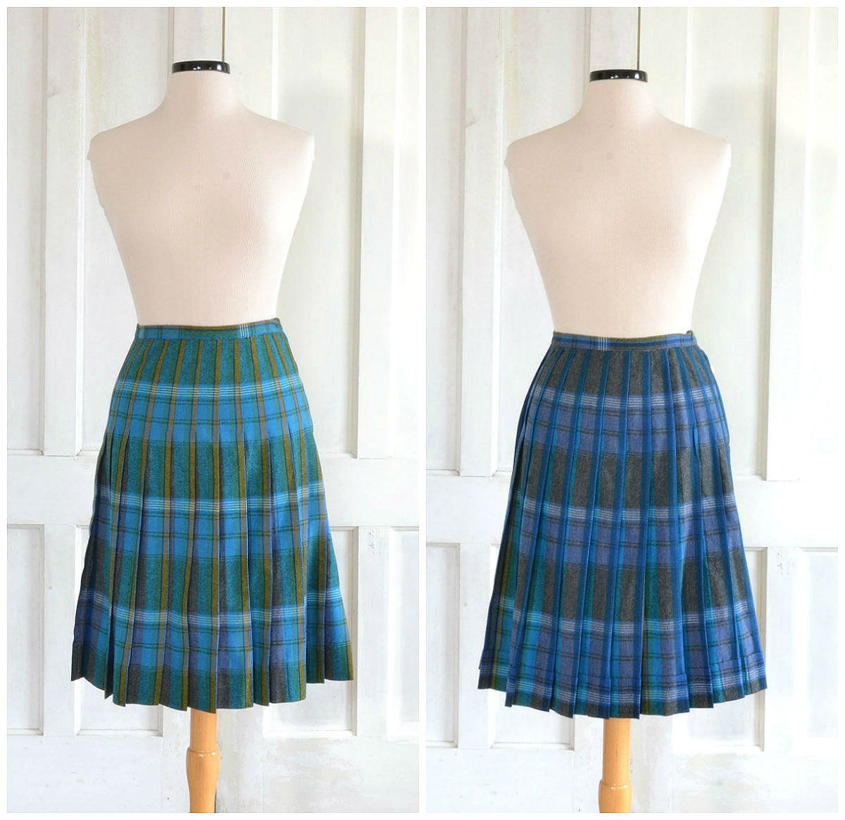 50s pleated plaid skirt reversible wool skirt grey green
