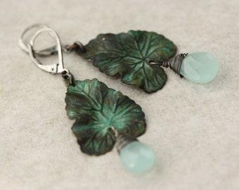 Blue Rain Drops, Blue Chalcedony, Green Verdigris Leaves, Birthday Gift for Wife, for Sister, Gift for Mom, for Girlfriend, Easter Spring