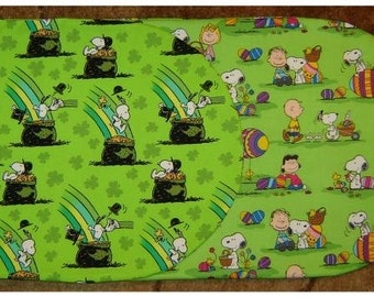 SNOOPY and PEANUTS Reversible Table Runner  St Patricks Day and Easter Themes