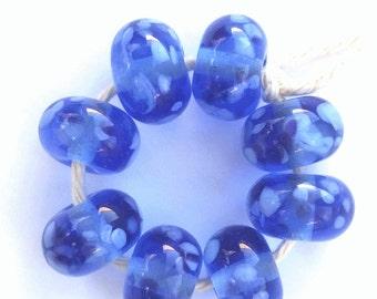 Blue on Blue Artisan Lampwork Glass Beads