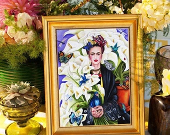 Frida Kahlo, Frida Kahlo Art, Frida Portrait, Frida Kahlo Artwork, Diego Rivera, Frida Art Print, Hummingbird Art, Birds