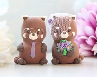 Unique Red Panda wedding cake toppers - bride groom personalized figurines purple fall autumn spring country bridal gift barn farm custom