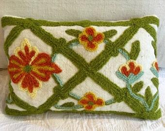 Vintage Crewel work Lavender Sachet/Accent Pillow