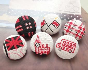 British Style Union Jack London Bus Big Ben Retro Red Collection-Handmade Fabric Covered Buttons(0.75 Inches, 6PCS)