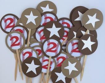 Baseball Cupcake Toppers  or Food Picks - Baseball Theme Birthday