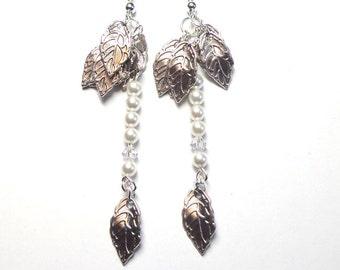 Silver Leaf Earrings, Swarovski Pearl Earrings, Swarovski Pearls, Swarovski Crystals