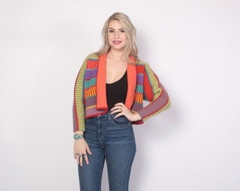 Vintage 80s CARDIGAN / 1980s Bright Cropped Thick Wool Sweater Jacket