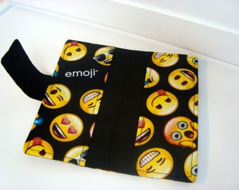 Fabric Checkbook Cover, Checkbook Holder Cash Holder - Emoji on Black