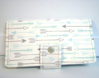 Fabric Checkbook Cover, Checkbook Holder Cash Holder - White with Gray and Aqua Arrows