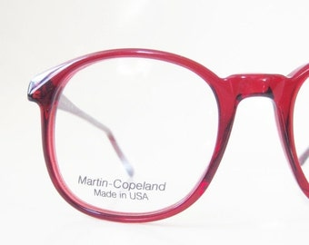 ON SALE Vintage Red Wayfarer Eyeglasses Womens 1980s Martin Copeland USA American Made 80s Deadstock Indie Hipster Chic Nos New Old Stock
