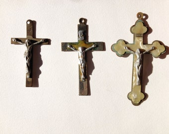 Set 3 Antique Crucifix Pendants