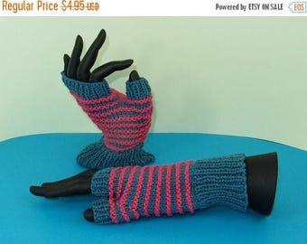 50% OFF SALE Instant Digital File pdf download Knitting pattern only - Stripe Pattern Fingerless Gloves knitting pattern