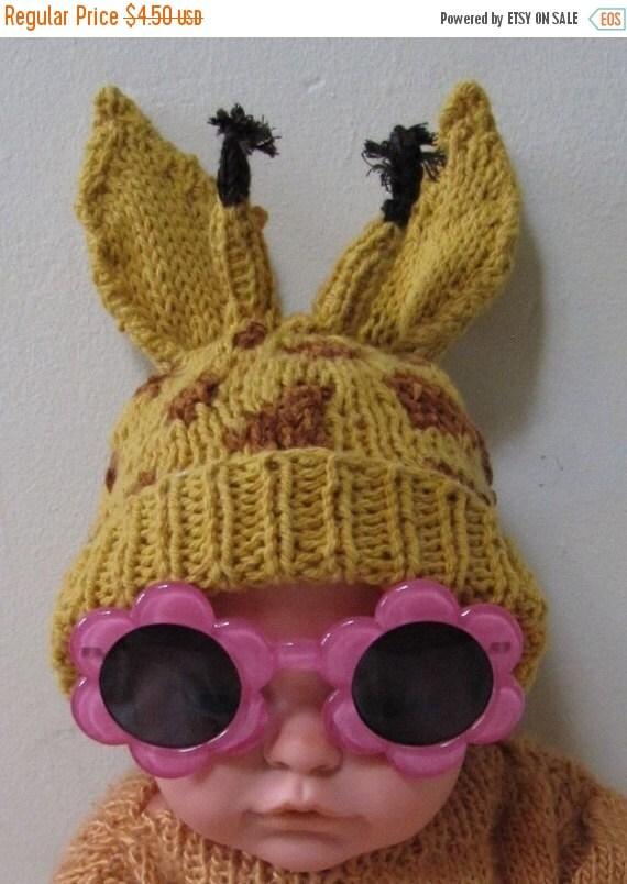 30% Discount Sale madmonkeyknits -Baby Big Ears Giraffe Beanie Hat pdf knitting pattern - madmonkeyknits - Instant Digital File pdf download