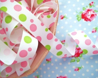 Bubble Dots Grosgrain Ribbon - Pink and Green - 7/8 inch - 2 Yards