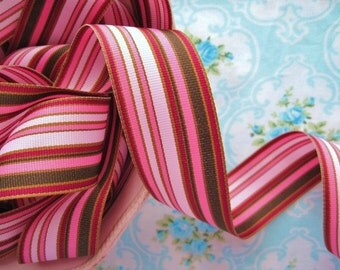 Striped Grosgrain Ribbon - Chocolate Covered Cherry - 1 1/2 inch - 2 Yards