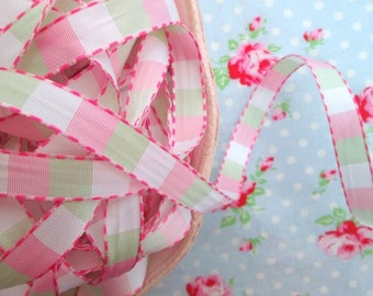 Check Ribbon - Pink and Green - 1/2 inch - 3 Yards