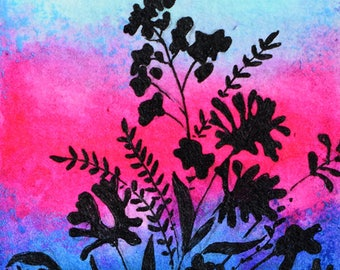 Original Flowers ACEO Pink Blue Silhouette Miniature Painting