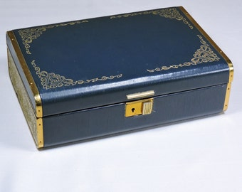 Vintage Jewelry Box Sewing Box Teal and Gold