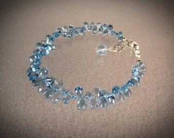Blue Zircon finest gemstone briolettes and blue Topaz 925 silver bracelet/gemstone bracelet/beaded jewelry/VNV Design 021920176