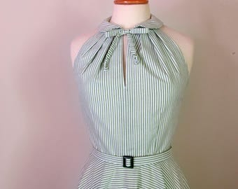 1950's dress halter peter pan collar circle skirt dress  available in stripes, polka dots or gingham