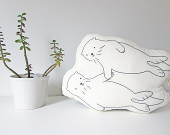 Valentines Day, holding hands otters, organic otters shaped pillow, plush otters, room decor