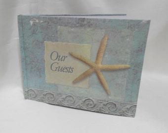 Beach Starfish Wedding blue Guest Book