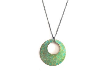 Verdigris Textured Open Circle Necklace