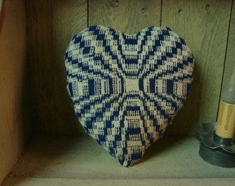 Antique Late 1800 Coverlet Heart Pillow