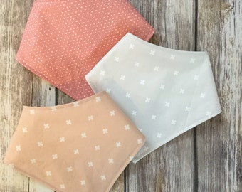 Baby Toddler Drool Bib Bandana Bibdana Waterproof - You Choose the Fabric - trendy nwutral pastel cotton steel basic