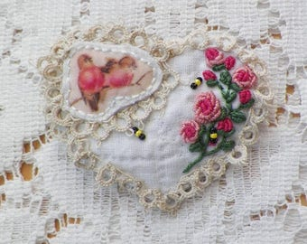 Vintage Quilt Heart Shaped Brooch / Pin / Broach, Embroidered Pink Roses, Bumblebees, Robins, Embroidery, Vintage Lace, Handmade