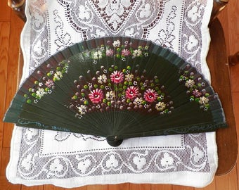 Exquisite Hand Painted Green Hand Fan, Green Painted Wood / Cloth, Two Different Floral Designs, Pink, White, Yellow Flowers, Estate