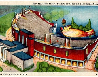 Vintage Postcard - 1939 New York World's Fair - New York State Exhibit Building and Fountain Lake Amphitheater (Unused)