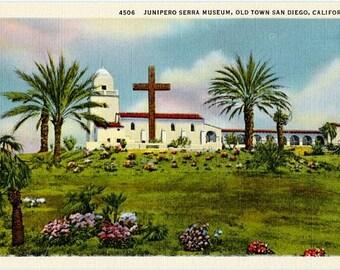 Vintage California Postcard - The Junipero Serra Museum, Old Town, San Diego (Unused)