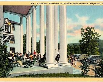 Vintage North Carolina Postcard - A Summer Afternoon on the Veranda at Ridgecrest (Unused)