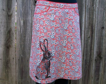 Cottontail Rabbit flower skirt - screenprinted, upcycled knee length a-line vintage - Medium