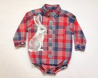 Bunny plaid shirt onesie - eco screenprint on upcycled long sleeve OshKosh cotton - size 24 months