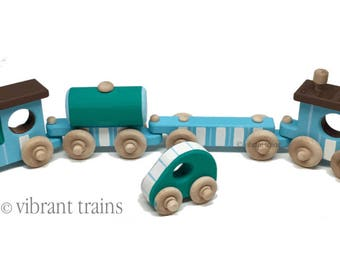 Blue and Teal Painted Wooden Toy Train Hand Made and Hand Painted FOUR CARS. Ready to Ship today.