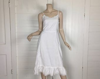 30s White Cotton Slip or Dress- 1930s / 40s with Lace- Small- Country / Casual / Short Wedding Dress- Boho Hippie Festival