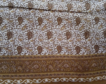 Brown Saree Fabric By The Yard, Paisley Print Cotton Fabric, Floral Cotton Fabric, Indian Saree Fabric, Semi Sheer Lightweight Cotton Fabric