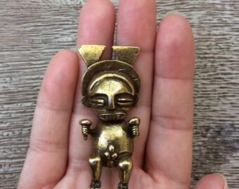 Alva Studios Brass Brooch Vintage Alva Studios Maya Aztec Brooch Fertility Deity Museum Reproductions