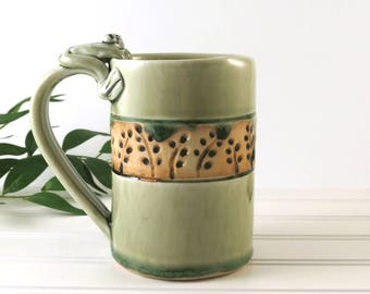 Pottery Mug Handmade, Ceramic Teacup, Light Green Coffee Cup, Tea Cup, Frog Mug, Pottery Handmade, Ceramics and Pottery, Gift for Her, 883