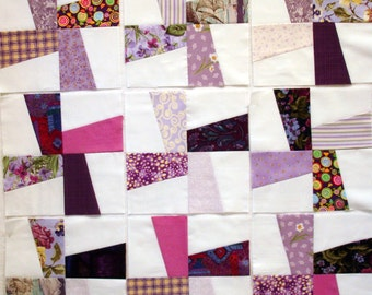 Windmill Pieced Quilt Blocks in Scrappy Purple
