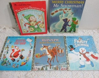 Little Golden Books Christmas Snowman Elf and More Set of 5