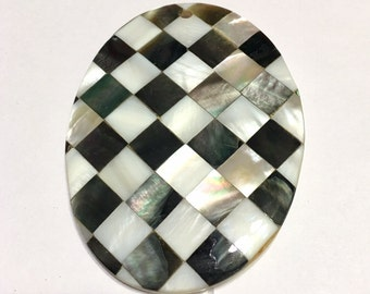 Mother of pearl black and white harlequin oval pendant HIGH QUALITY top drilled