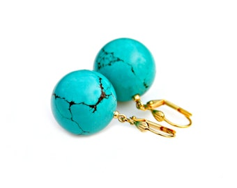 Turquoise Earrings Gold Earrings Large Bobble Dangles Green Blue Southwest Turquoise Statement Jewelry High Fashion Style by Mei Faith
