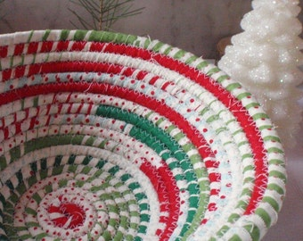 Happy Holidays Coiled Fabric Basket - Red, Green and White, Catchall, Organizer, Handmade by Me