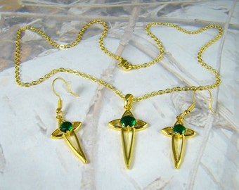 Vintage Cross Necklace Set Emerald Green Rhinestone Center Necklace and Pierced Earrings Goldtone Chain Simple Classic Design