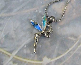 Vintage Pixie Fairy Necklace Pretty Pixie Rhinestone Aurora Borealis Wings Nice Chain Tinker Pixie Pendant Necklace