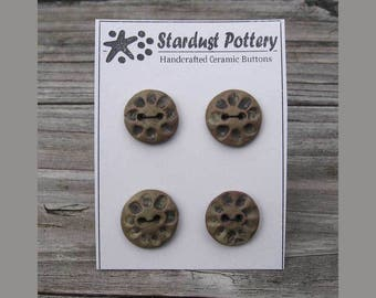 Ceramic Buttons Round Textured Wheel Design Army Ivy Green 2-hole (set of 3)